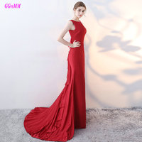 Mermaid Sexy Off Shoulder Pleats Evening Gowns Sweep Train Cheap Red Formal Celebrity Dress New Arrival