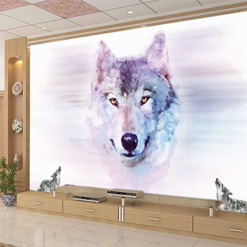 Custom 3D Stereo Large Mural Wolf Totem Animal Wallpapers Bedroom Living Room TV Background Wall Covering Non-woven Wallpaper