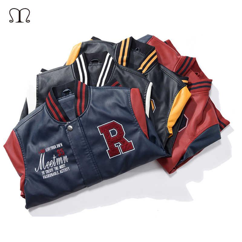ボンバージャケット男性刺繍ベースボールジャケット Pu レザーコートの手紙は襟高級パイロットレザージャケット Hombre