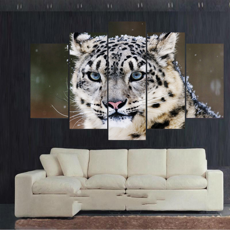 Leopard Bedroom Ideas For Painting: Snow Leopard 4K Spray Painting Set Of 5 For Office Room