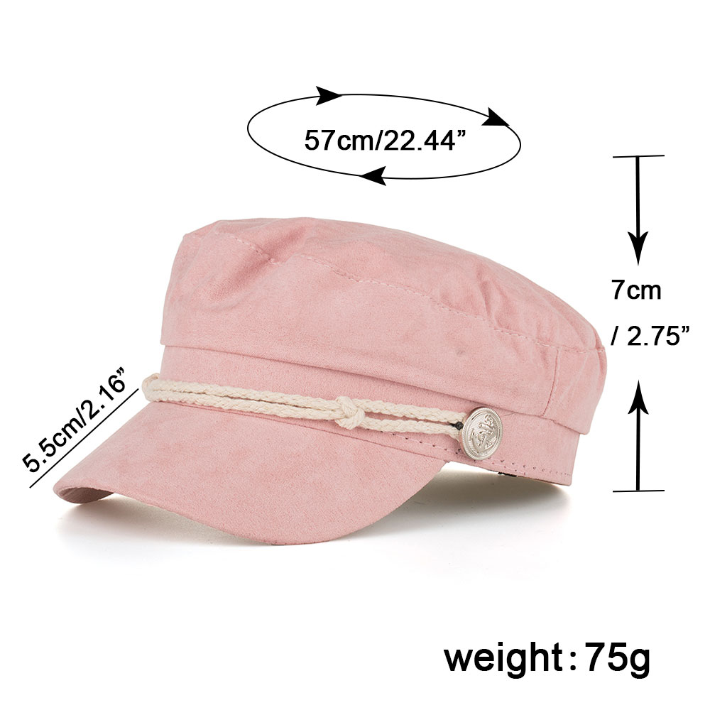 52ddacf31b579 Details about AKIZON Military Hat Caps Beret Winter Hats For Women Men Pu  Leather Brim Wool