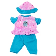 цена Doll Clothes Accessories Fit 18 inch 43cm Born New Baby Doll Blue Boy Hat Owl Red Star Sunflower Bee Clothes Suit For Baby Gift онлайн в 2017 году
