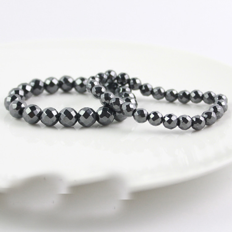 BEAUCHAMP 8mm No magnetic Hematite Stretch Bracelet Gem Natural Stone Jewelry Faceted Beads Charms Elastic Cords Ropes Pulseras