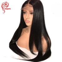 Hesperis полный шнурок человеческих волос парики для женщин черный предварительно сорвал индийские Remy прямые бесклеевой полный парик шнурка с