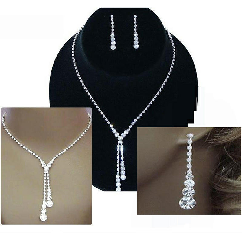 TREAZY Shiny Rhinestone Necklace Earrings Set for Women Silver Color Tassel Drop Crystal Wedding Bridal Jewelry Sets