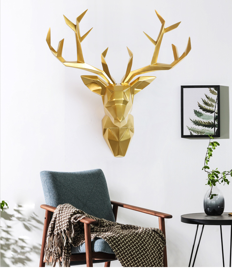 3D Deer Head Statue Sculpture Decor Home Wall Decoration Accessories Large Animal Figurine Wedding Party Hanging Decorations (1)