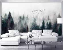 beibehang 3d wallpaper Modern fresh foggy forest clouds flying birds Nordic TV background wallpaper living room bedroom murals nordic minimal elk flying birds forest custom wallpaper living room tv backdrop sofa wall bedroom murals papel de parede