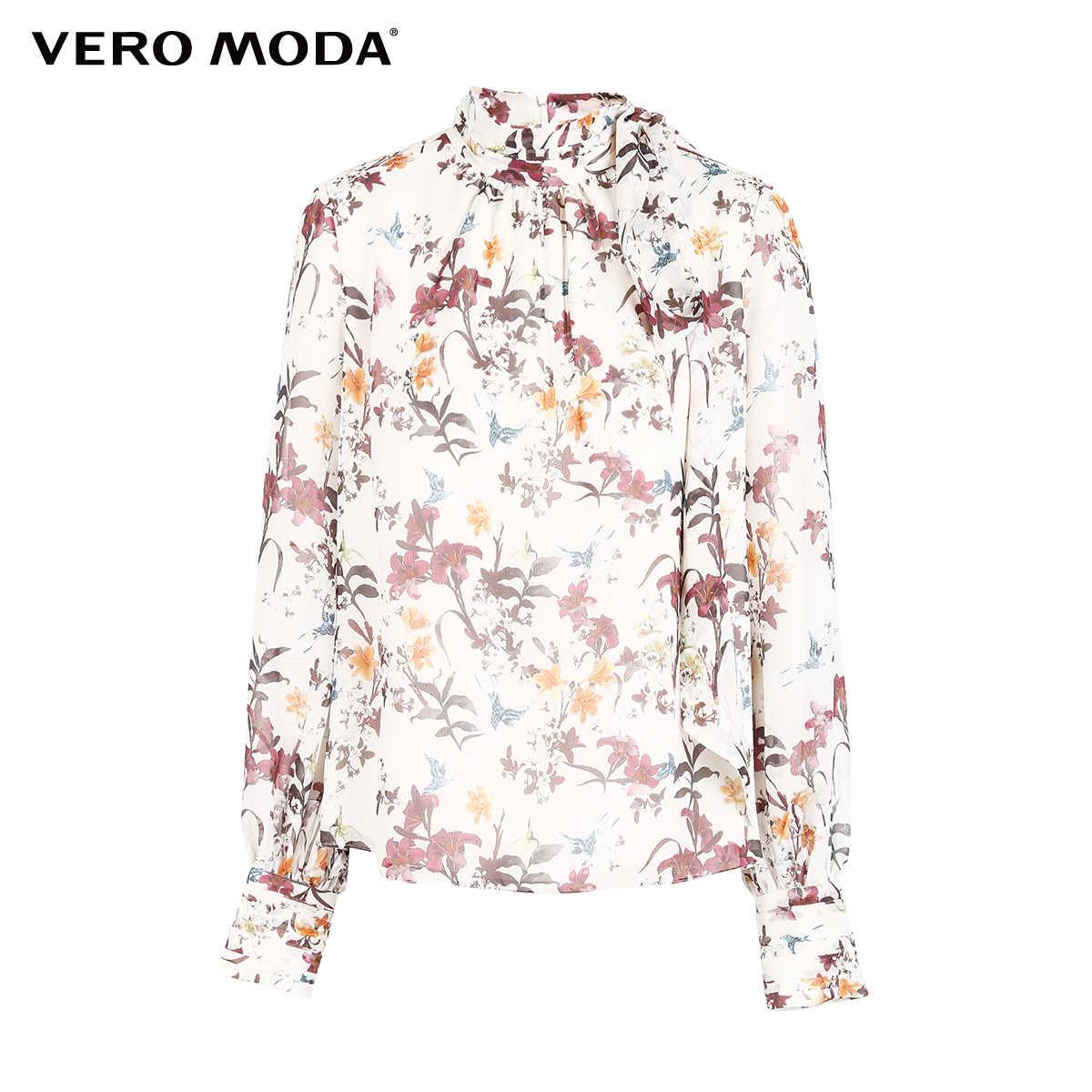 をベロモーダ女性の 2019 新しい花柄プリーツスタンドカラーストリーマシフォンシャツブラウス   318451509