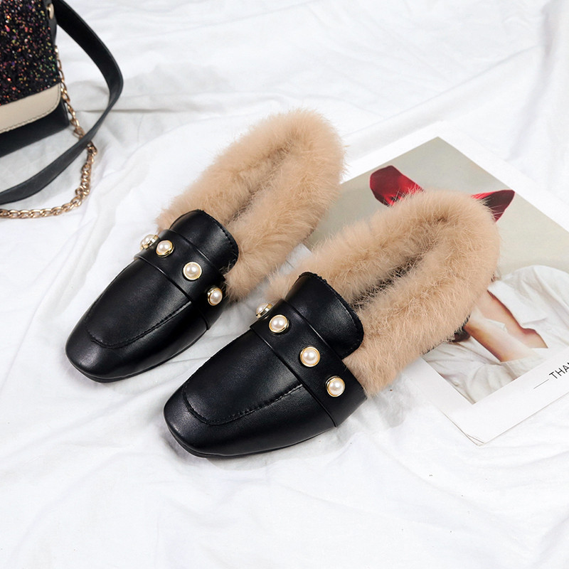 Mode Glissement En De 2019 Deluxe noir Femmes Mocassins Décoration Lapin Sur Chuzzle Perle Plat Cuir Chaussures Beige Fourrure Ballerines xz88PYq5fw