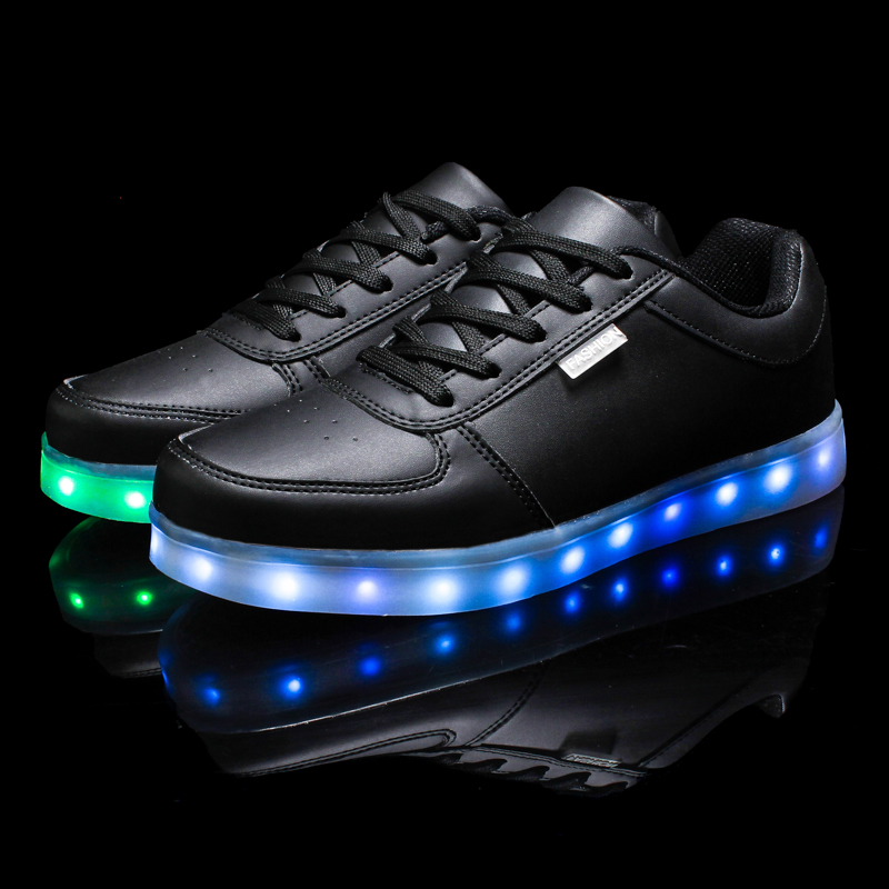 Glowing Sneakers USB Charging Shoes Lights Up Colorful LED Kids Luminous Sneakers, Glowing Sneakers, Black LED Shoes for Boys tutuyu camo luminous glowing sneakers child kids sneakers luminous colorful led lights children shoes girls boy shoes