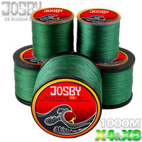 JOSBY 1000M 4 Strands 8 Strands Multicolour PE Braided Wire Multifilament Sea Carp Fishing Line Fishing Tackle 4Color 10 80 LB