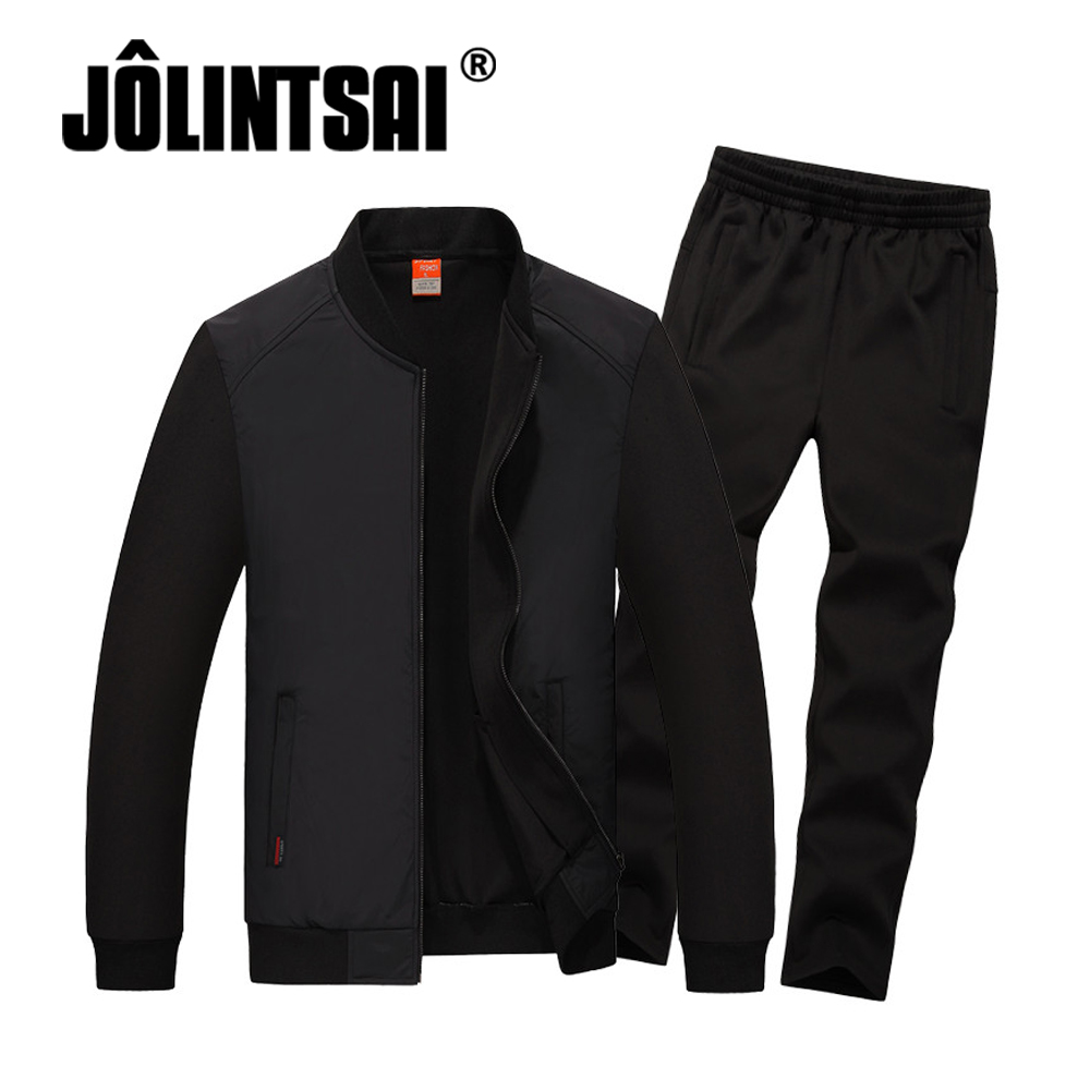 Jolintsai 2017 Men's Brand Black Tracksuits Set Jacket+Pants Sporting Suit Plus Size 5XL 6XL 7XL 8XL Fitness Men Sets men sport suit autumn winter big size 6xl 7xl 8xl warm knitted tracksuits printing design male fitness jogging running sets