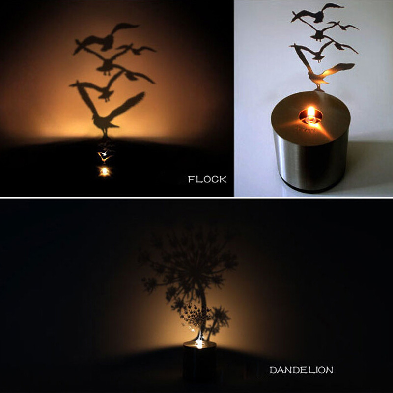 Hot Sale Creative LED Shadow Projection Night <font><b>Light</b></font> Romantic Atmosphere Candle <font><b>Small</b></font> Lamp 6 Designs Valentine's Day Gift