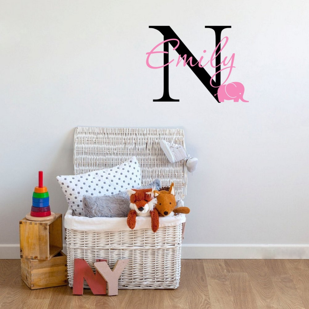 Custom personalized any kids name elephant wall decal for Personalized kids room decor