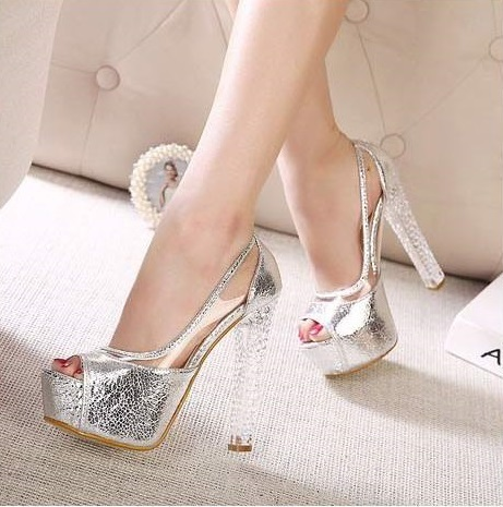 02cc84cadf6fe Sexy Ladies Silver Gold Crystal Heel Wedding Shoes Platform High Heels  Glitter Peep Toe Sandals Rhinestone Evening Party Pumps