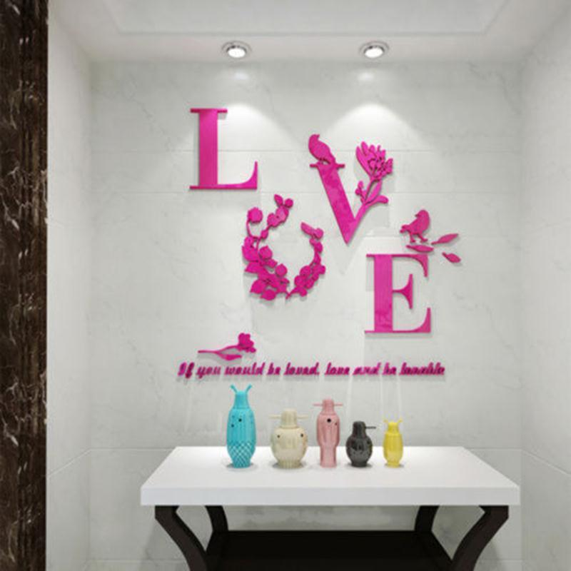 DIY 3D Mirror Wall Stickers Love Wall Decals Home Weeding Decoration  Accessories Scratch Map Stickers Muraux