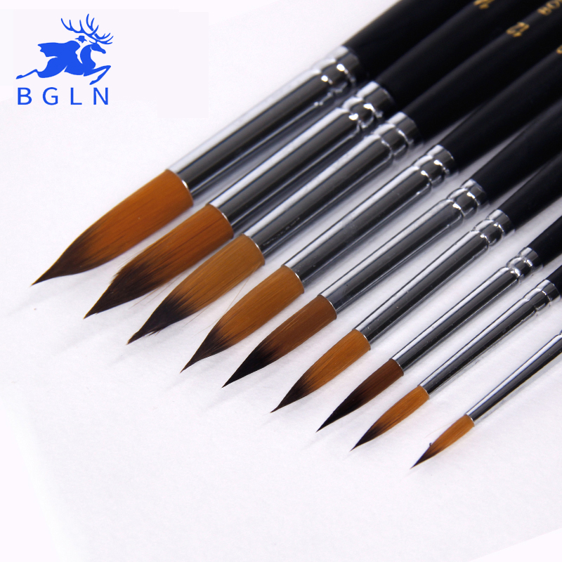 Bgln 9pcs Size Pointed Long Handle Watercolor Paint Brushes Nylon Hair Water Color