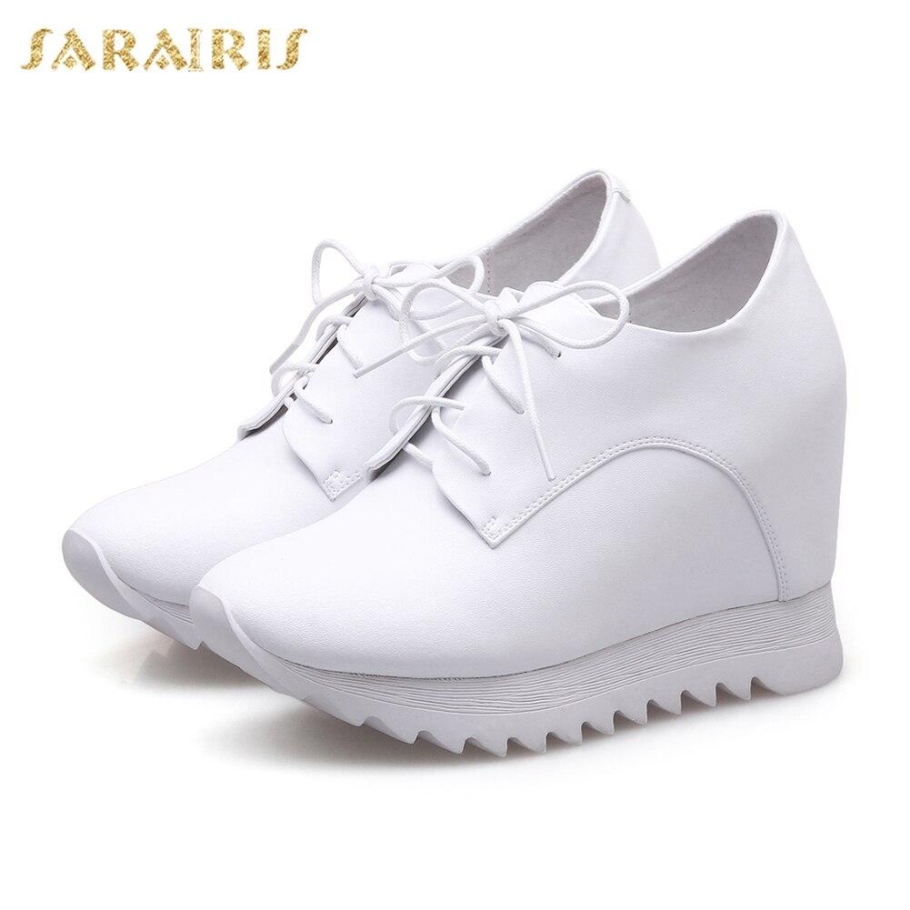 SARAIRIS 2018 cuir de vache grande taille 32-40 chaussures à lacets plate-forme sneakers femme chaussures noir blanc vulcaniser chaussures femmes