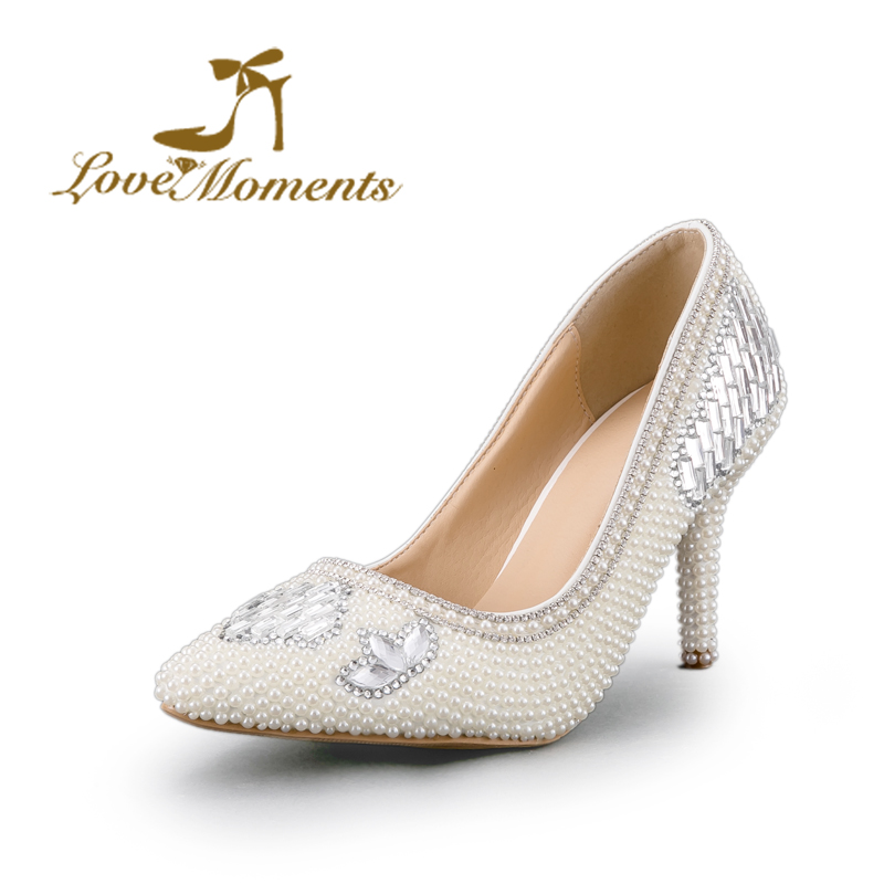 Love Moments ladies luxury pearl crystal diamond wedding shoes pointed toe bridal shoes and high-heeled dress shoes pumps luxurious ecru white bridal shoes crystal diamond 5cm low heeled shoes elegant imitation pearl wedding dress shoes