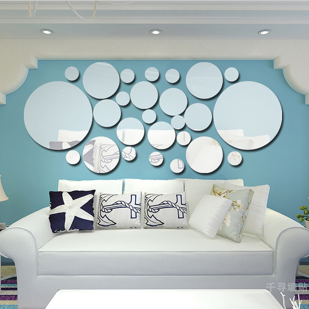 Online buy wholesale round mirrors for wall from china round 26pcs mirror wall stickers silver round wall mirror sticker for tv background home decor modern acrylic amipublicfo Gallery