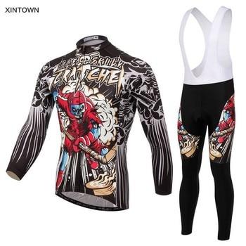 Xintown Men Skull Cycling Jersey Long Sets Bib Shorts Bicycle Cycling Clothes Suit Quick Dry MTB  Bike Road Cycling Clothing