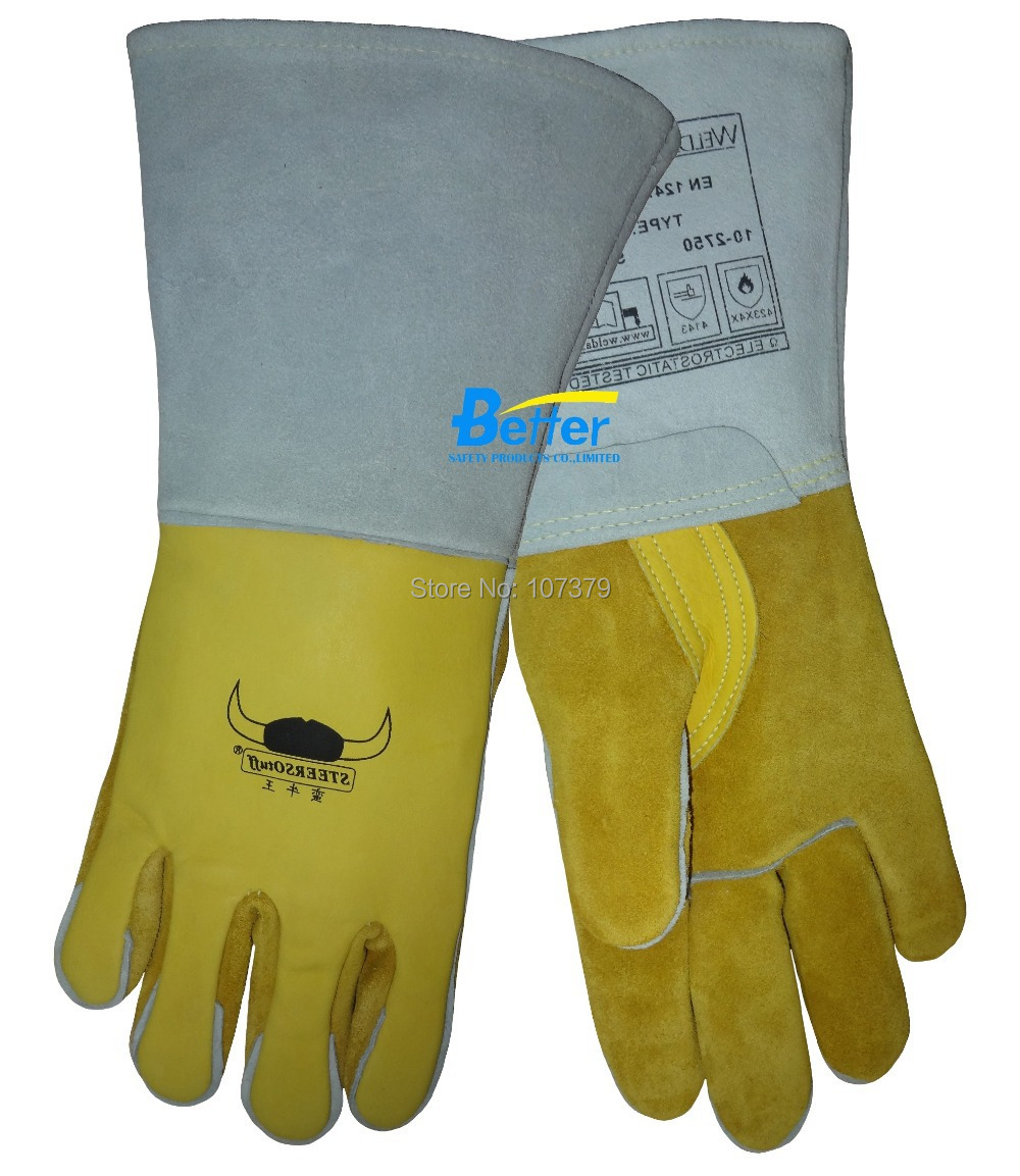 Leather work gloves china - 250 Degree Celsius Heat Resistant Leather Work Gloves Tig Mig Grain Cow Leather Safety Glove Welding