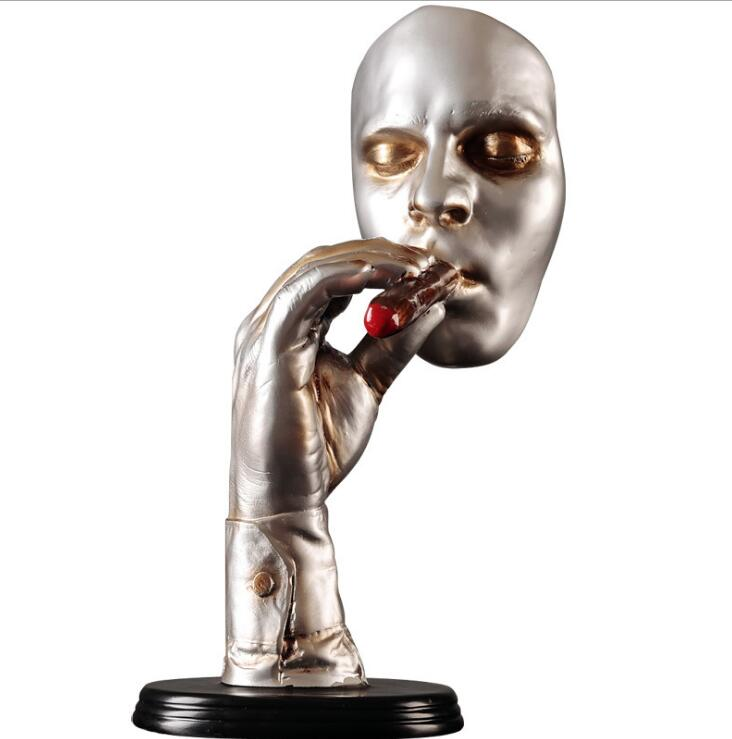 Retro Meditators Abstract Sculpture Man Smoking Cigar Creative Face Statue Character Resin Figurine Artwork Home Decorations