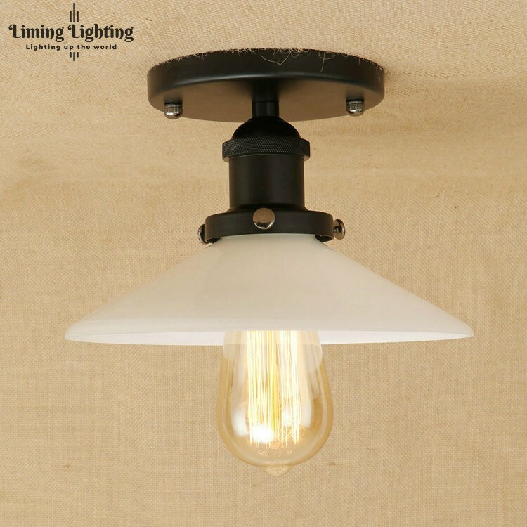 Loft Style Edison Industrial Vintage Ceiling Lamp Antique Iron Glass LED Ceiling Light Fixtures Indoor Lighting Lamparas retro loft style mirror glass iron vintage ceiling light fixtures edison industrial ceiling lamp antique lights home lighting