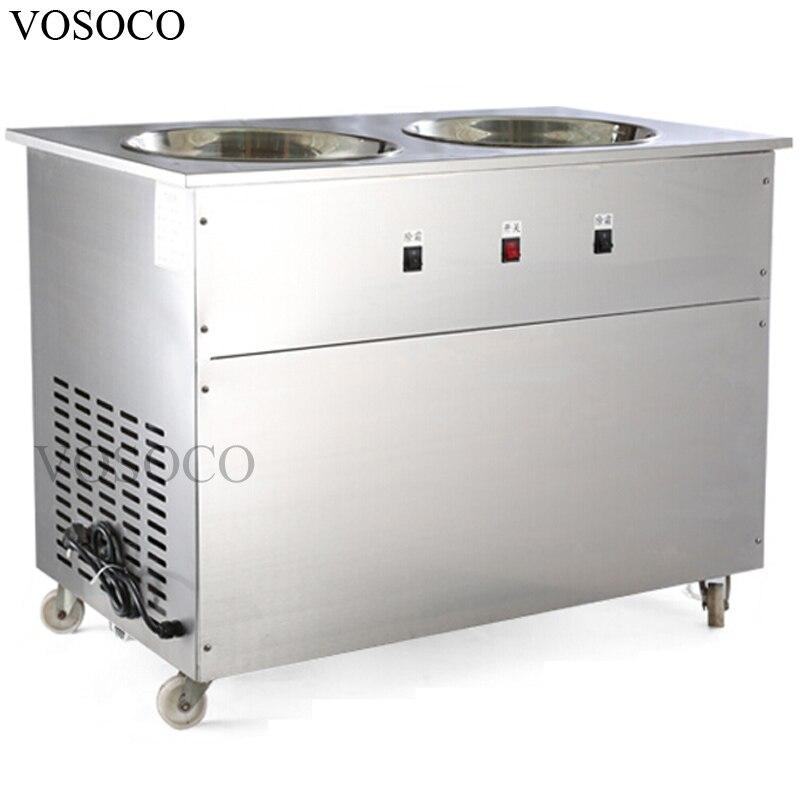 VOSOCO Fried ice cream machine 1500W ice cream roll fry ice pan machine Commercial Double pot Stir fried yogurt fruit machine big watt 2 8kw hot sale stir 2 pan fry ice cream roll thai freid ice cream machine with 11 boxes