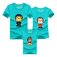 1pcs Family Look Father Son Mother Daughter Clothes Cartoon Monkey Short Sleeve Family T shirt Outfits