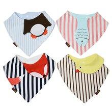 4 шт./лот хлопковые влагопоглощающие новорожденных Babador бандана нагрудник для маленьких Полотенца малыша Треугольники шарф для девочек, для мальчиков слюнявчик для младенца Полотенца