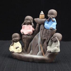 Image 3 - Decoração de casa suporte da vara do incenso budista cerâmica incenso incenso o pequeno monge bonito backflow cones queimador cerâmica ofício