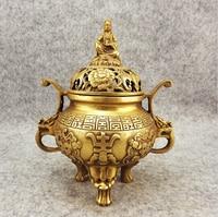 B0601 416Incense burner copper incense burner buddha with threelegged antique incense burner crafts coppe statue