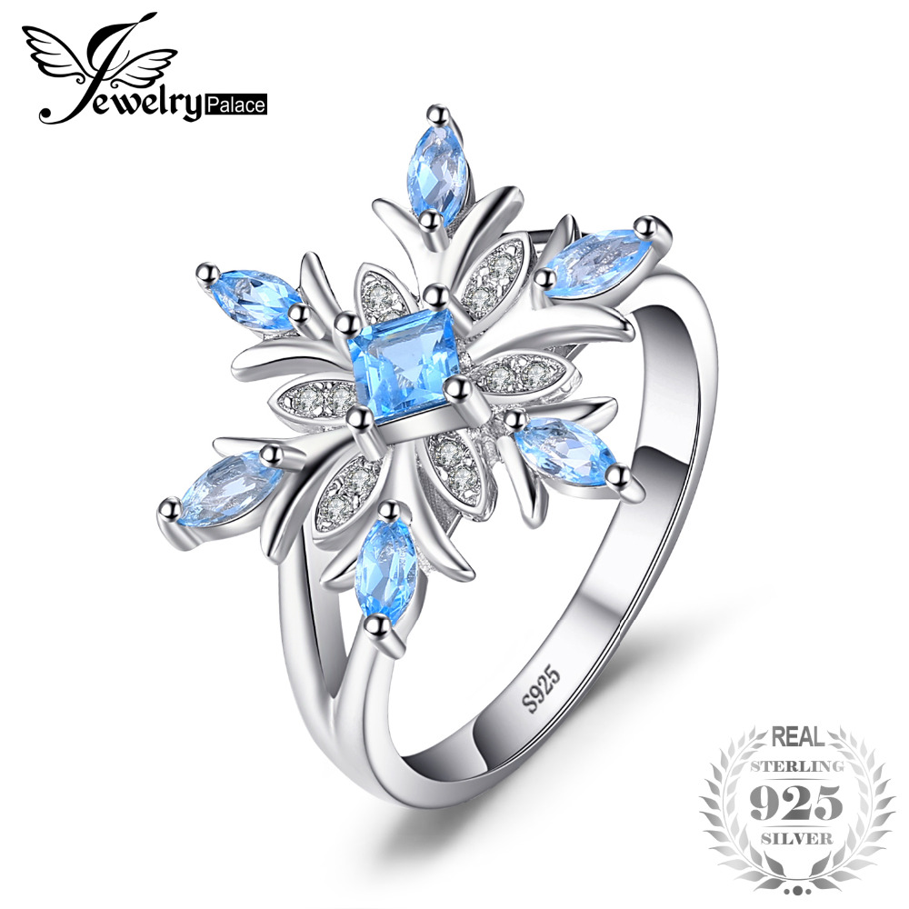 JewelryPalace Promotion 0.8ct Snowflake Genuine Blue Topaz Ring Solid 925 Sterling Silver Fine Jewelry Fashion Gift For Women