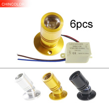 6 pces 1 w 3 mini diodo emissor de luz ponto luz led spotlight ac110v 220 v para baixo luz + motorista led branco quente 8 cor armário decoração da sala hl