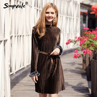 SIMPVALE Hot Stamping Velvet Warm Pleated Dress Women Fur Cuff With Belt Collect Waist Female O