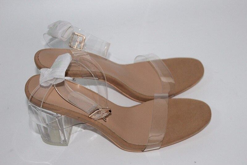 ФОТО PVC Women Sandals Kim Kardashian Sexy Clear Transparent Ankle Strap High Heels 11 Cm 9 cm Party Sandals Women Shoes Size 35-42