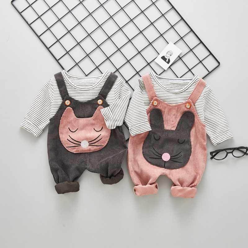 T-Shirt Pants Overalls Tops Baby-Girls Children Cartoon Cat 2pcs Autumn Striped Long-Sleeve