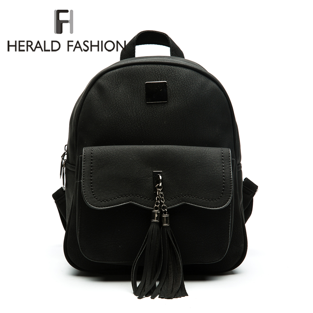 Herald Fashion Tassel Backpack Women PU Leather School Backpacks For Teenage Girls Vintage Feminine Backpack Casual Mochila