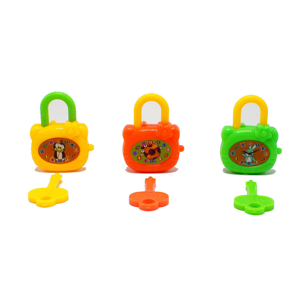 2 Pcs/lot Colorful Birthday Toy Plastic Cartoon Children With Keys Toy Locks Notebook Lock Gift Toys For Kids