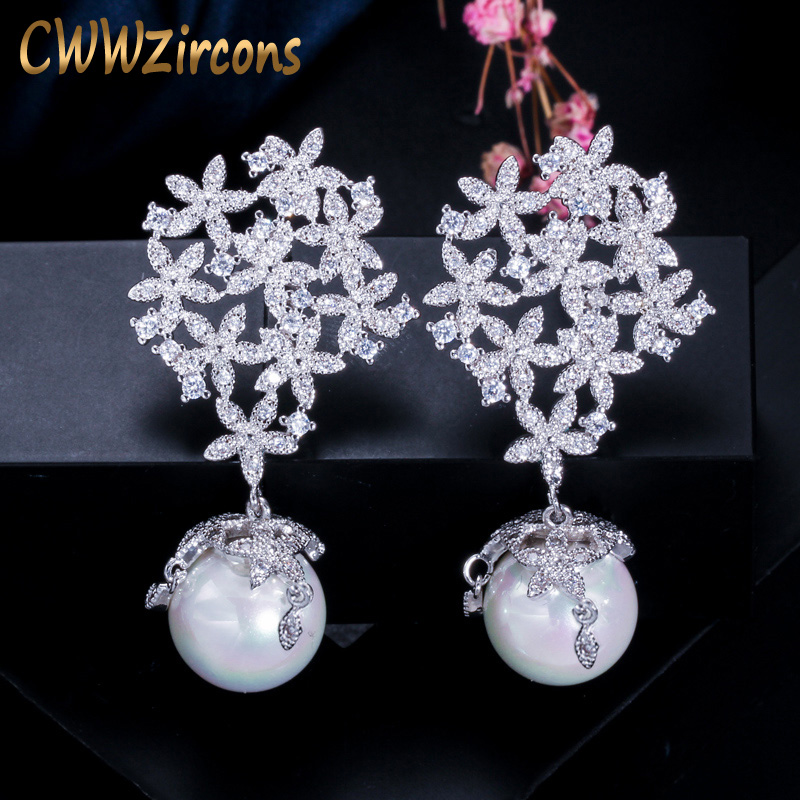 CWWZircons High Quality Cubic Zirconia Long Dangle Drop 925 Sterling Silver Pearl Earrings Jewelry For Women Wedding Party CZ372