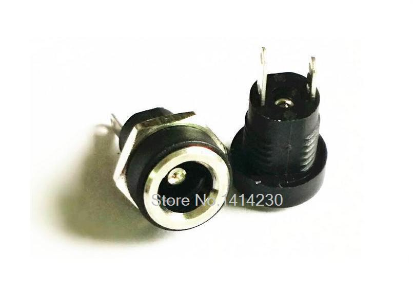 5Pcs 3A 12v For DC Power Supply Jack Socket Female Panel Mount Connector 5.5mm 2.1mm Plug Adapter 2 Terminal Types 5.5*2.1