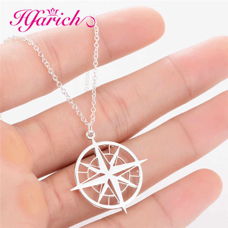 Hfarich Wanderlust Travel Compass Necklace Round Charm Jewelry Steampunk Vintage Compass Necklaces Traveler