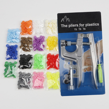 U Shape Fastener Snap Pliers KAM Button + 150 set T5 Plastic Resin Press Stud Cloth Machine Sewin