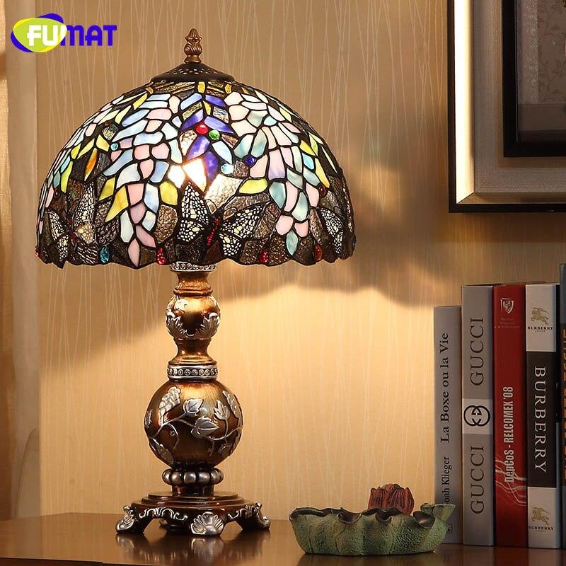FUMAT Européenne Creative Table Lampes Lumière Teinté Verre Wisteria Glass Shade Table Lumières Pour Salon De Chevet Art Lampe de Table