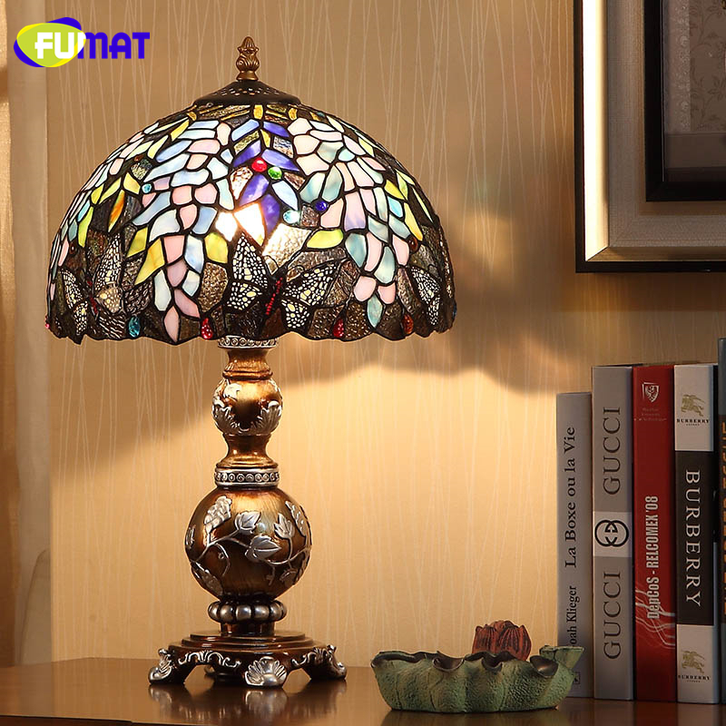 Us 195 1 13 Off Fumat European Creative Table Lamps Light Stained Glass Wisteria Glass Shade Table Lights For Living Room Bedside Art Table Lamp In