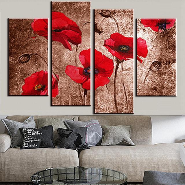 4 Pcs/ensemble Fleur Peinture Coquelicots Brun Décoration