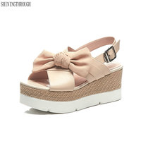 ed10fb86a Cow Leather Women Sandals High Wedges Heels Platform Bowties Girl S Shoes  Woman Summer Style Blue