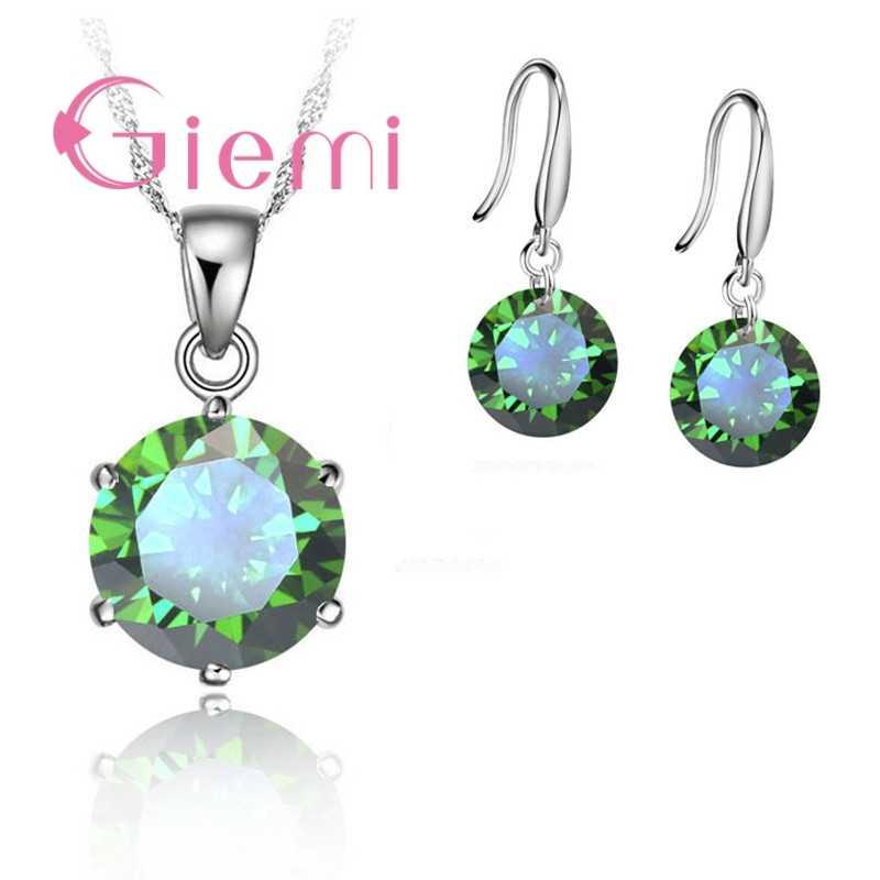 Нежное круглое ожерелье с кристаллами, серьги для матери и женщины, Подарок на годовщину, ювелирный набор из стерлингового серебра 925 пробы