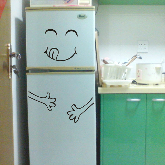 Cute Sticker Fridge Happy Delicious Face Kitchen Fridge Wall Refrigerator Vinyl Stickers Art Wall Decal Cute Home Decorations